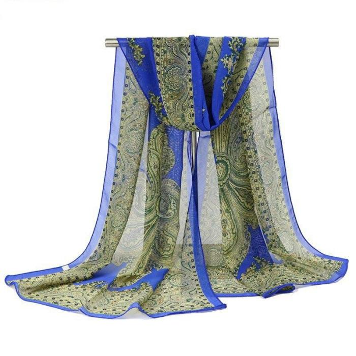 Fashion Classic Ethnic Style Scarf High Quality Chiffon Material Comfortable Printed Ladies Women Long Scarves