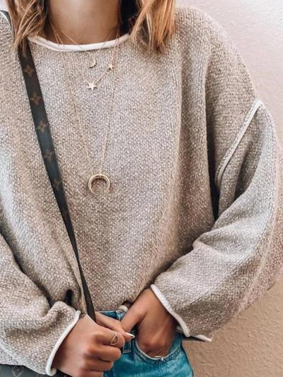 Long Sleeve Casual Cotton-Blend Sweater