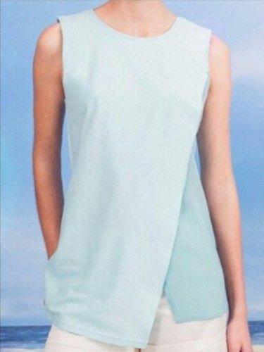 Plus Size Women Sleeveless Round Neck Plain Casual Tops