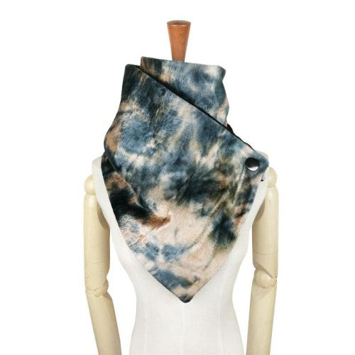 Women Fashion Button Gradient Tie Dye Rainbow Scarf