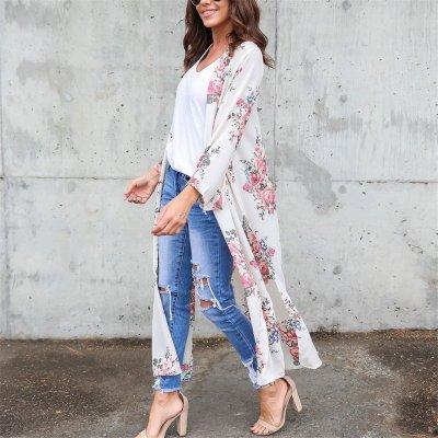 2019 Floral Printed Loose Beach Long Cardigan