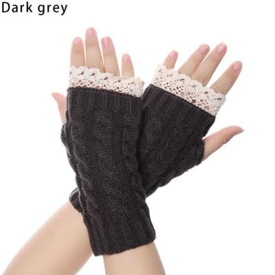 Casual Knitted Lace Fingerless Winter Gloves Soft Mitten
