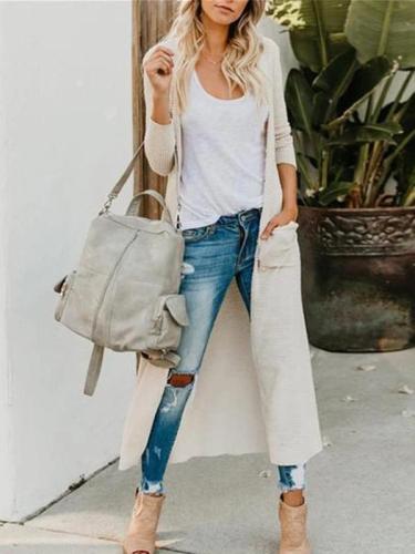 Fashion Button Long Sleeve Pocket Cardigan