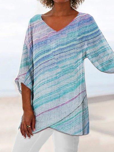 Vintage Half Sleeve Printed Half Sleeve Blouse