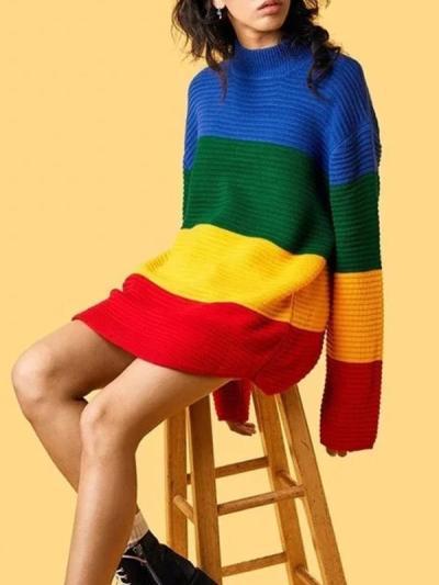 Loose Knitwear Full Sleeve High Collar Rainbow Pullover