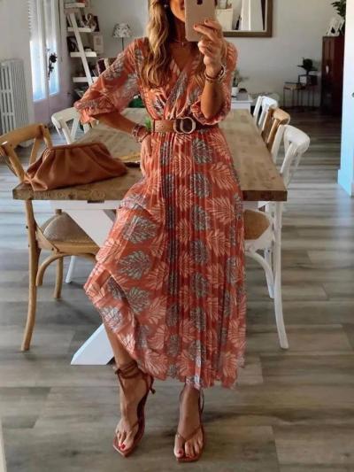 Holiday V Neck Leaves Printed Half Sleeve Dresses