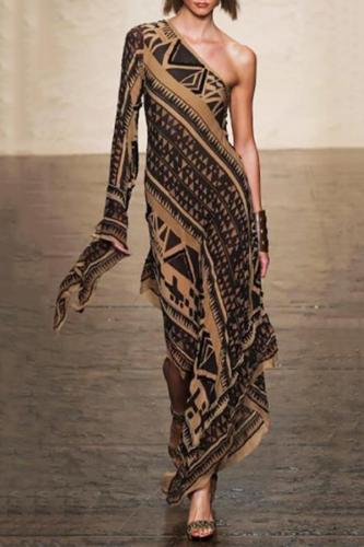 One-Shoulder Fashion Elegant Floral Printed Evening Dress