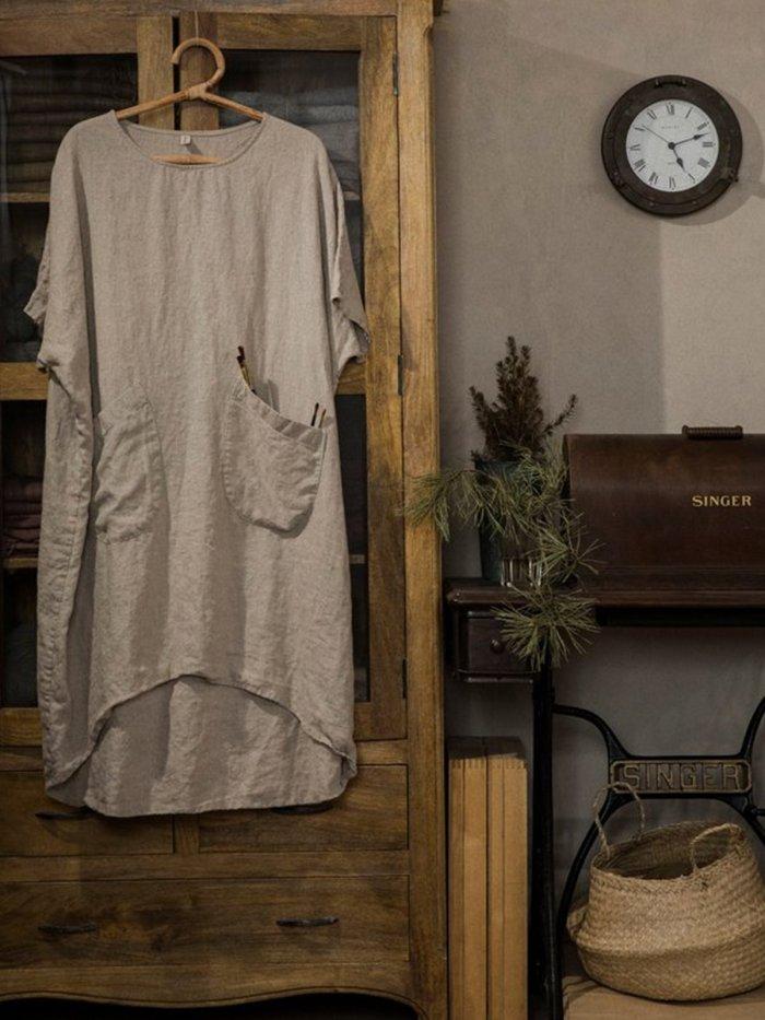 Women Round Neck Linen Half Sleeve Casual Solid  Dress