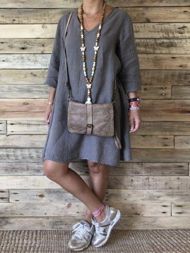 Gray Plain Cotton Casual V Neck Dresses