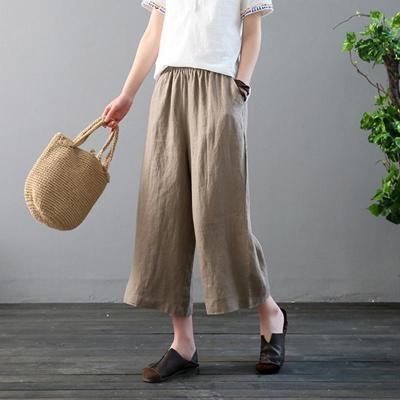 Leisure Pure Color Retro Loose Wide Leg Trousers