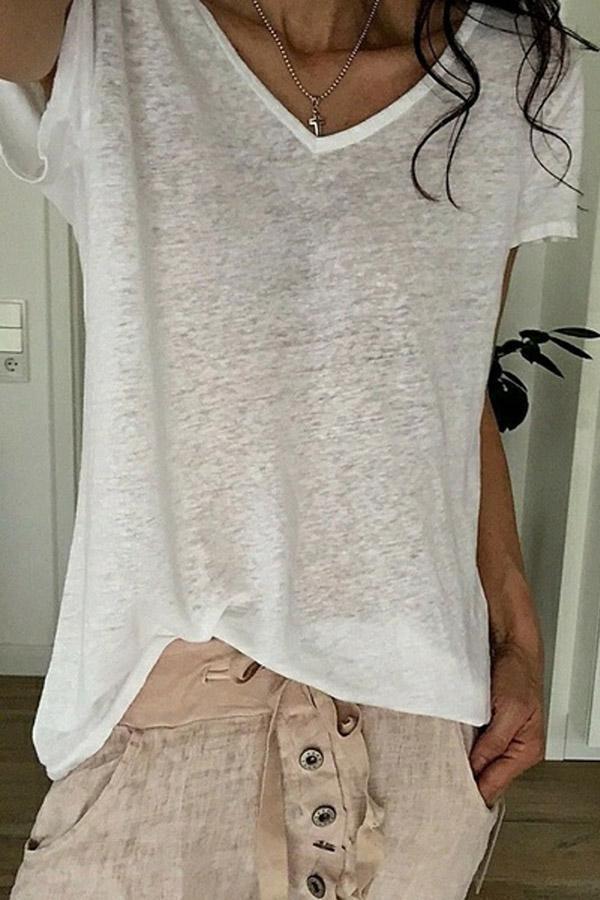 V-neck Short Sleeves Casual T-shirt