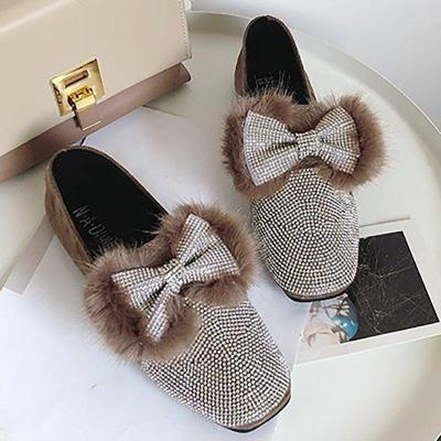 Women Rhinestone Bowknot Flats Casual Comfort Shoes
