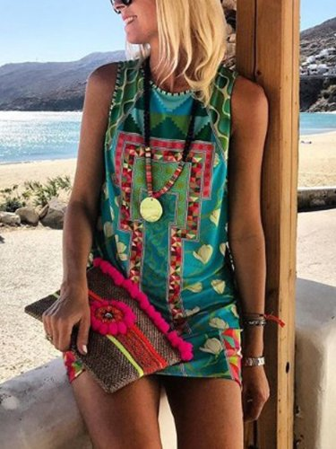 As Picture Round Neck Sleeveless Floral Shift Bodycon Dresses
