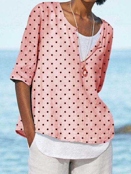 Polka Dots V Neck Casual Half Sleeve Shirts & Tops