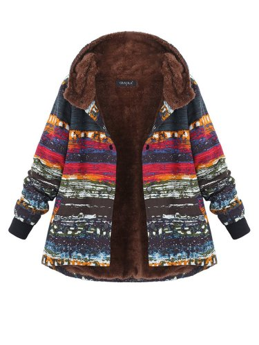Multicolor Printed Long Sleeve Hoodie Coat