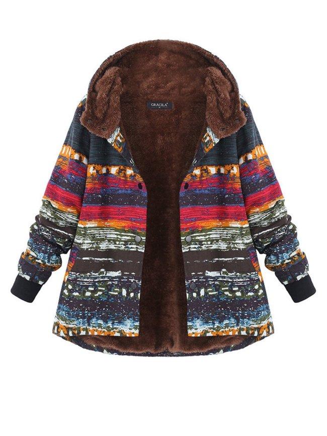 Multicolor Printed Long Sleeve Hoodie Coat