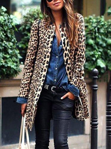 Plus Size Women Leopard Winter Warm Coat