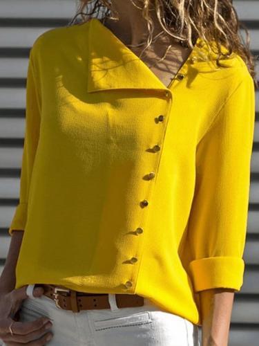 Cotton-blend Shift Buttoned Casual Blouses & Shirt