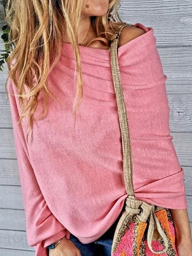 Off Shoulder Casual Solid Asymmetric Shirts & Tops