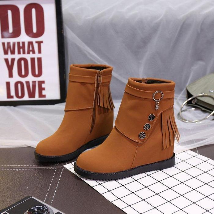 Women Spring/Fall Daily Zipper Nubuck Flat Heel Boots