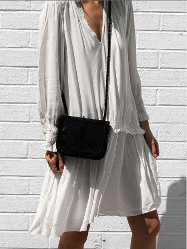 White V Neck Plain Cotton-Blend Long Sleeve Dresses