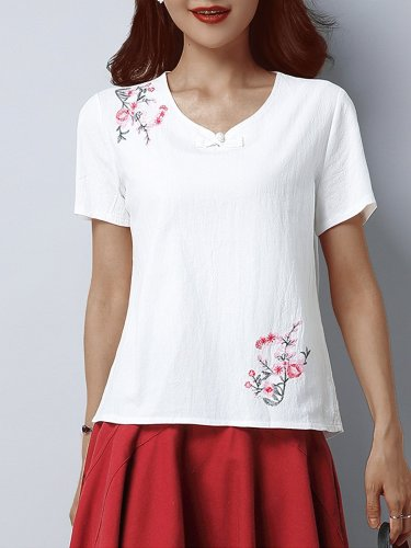 Plus Size Women Loose  V-neck Short Sleeve  Plant Flower Pattern Embroidered Casual Tops