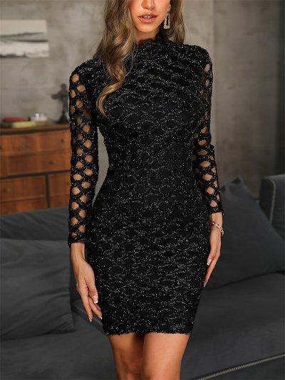 Fashion High Collar Hollow Out Shining Evening Dress