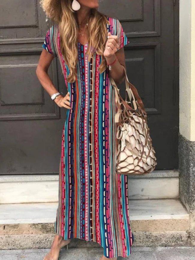 Printed Casual Maxi Dress