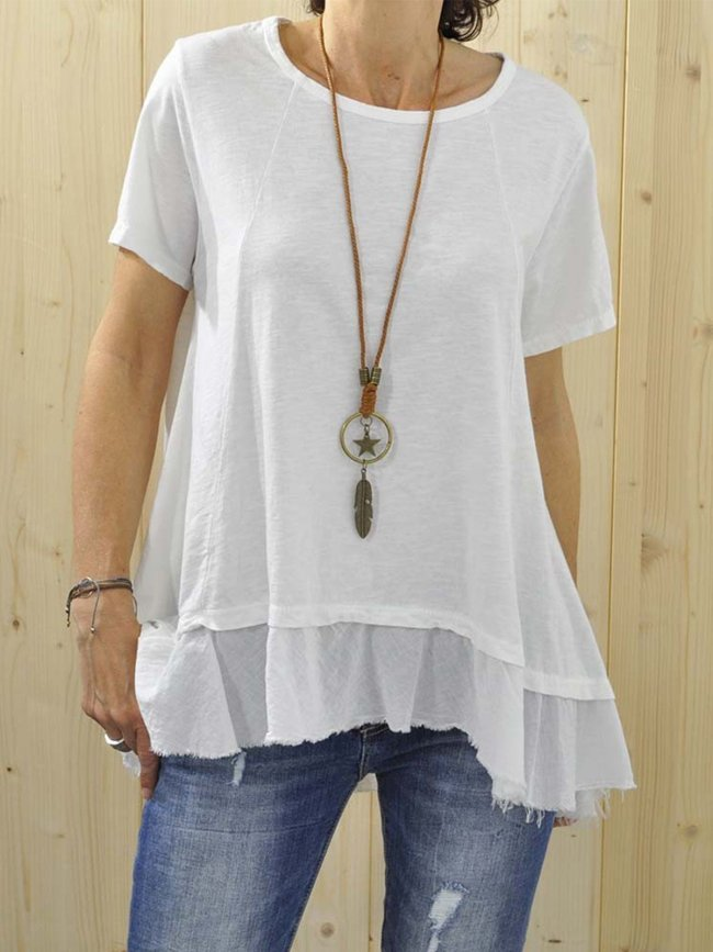 Plus Size Casual Round Neck Short Sleeve Solid Tops