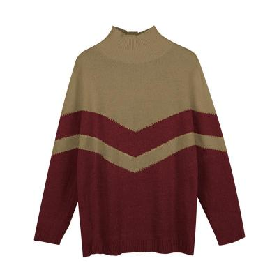 New Winter Clothes Women Casual Loose Contrast Color Sweater Long-sleeved Pullover Sweater