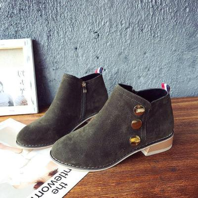 Khaki Suede Chunky Heel Spring/Fall Daily Zipper Boots