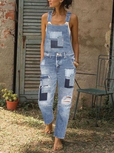 Patch denim overalls