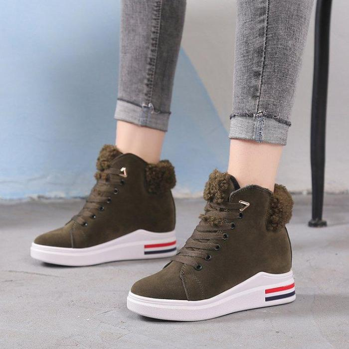 Women's Boots Platform Winter Warm Round Toe Casual Boots