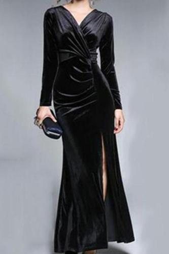 Elegant Split Velvet Evening Dress