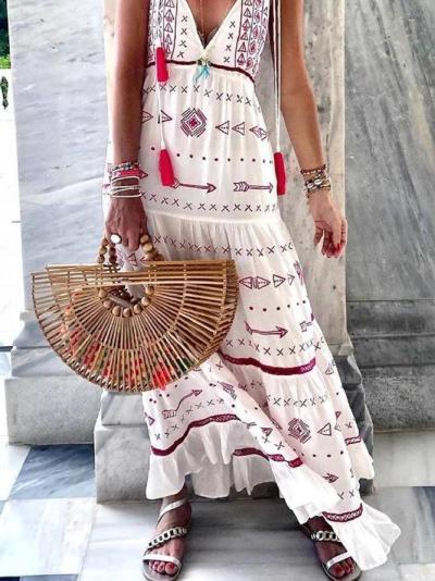 White Floral-Print Spaghetti Geometric Casual Dresses
