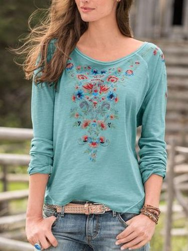 Crew Neck Casual Cotton Floral Shirts & Tops