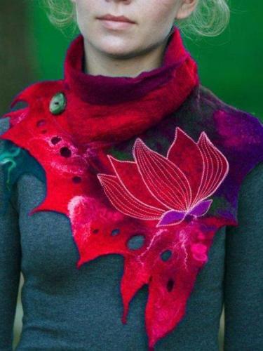 Casual Cotton-Blend Color-Block Scarves & Shawls