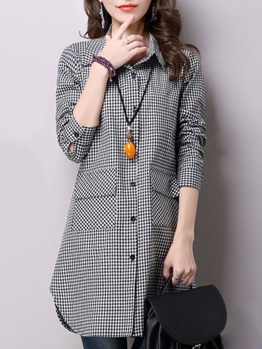 Black A-line Pockets Long Sleeve Checkered/Plaid Tunic Top
