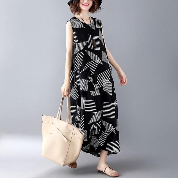 Summer Women Geometric Asymmetric Sundress Pinafore Dress Boho Chic Hippie Ethnic Style Maxi Dress