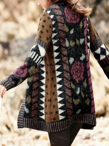 Brown Long Sleeve Geometric Printed Knitted Cardigan