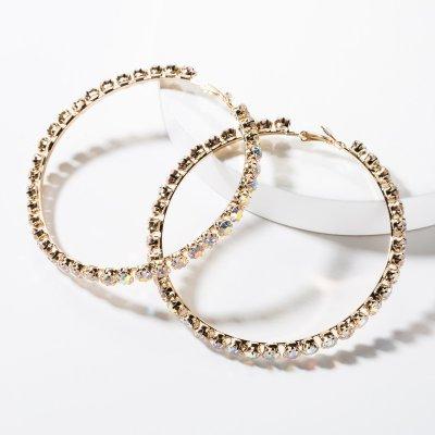 Geometric Big Hoop Earrings Women Rhinestone Vintage Statement Earrings