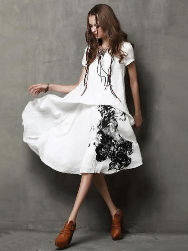 Vintage Cotton Linen Short Sleeve V-Neck Ink-Painting Print Maxi Dresses