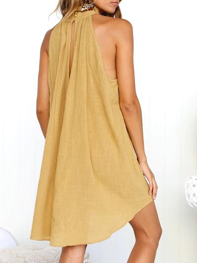Turtle Neck Basic Linen Casual Dress