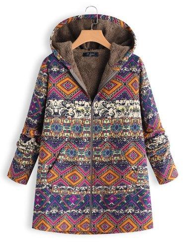 Vintage Printed Long Sleeve Hoodie Coat