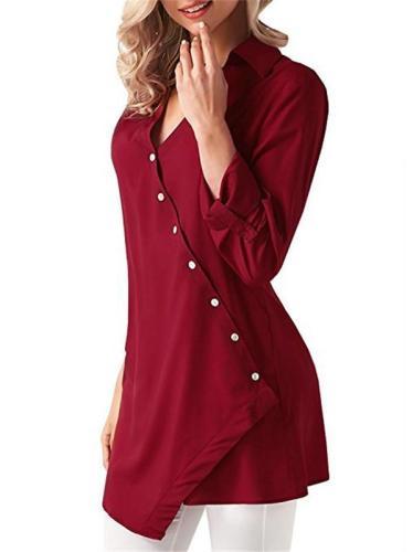 Chiffon Asymmetric Button Solid Shirt Collar Casual Blouse & Shirts