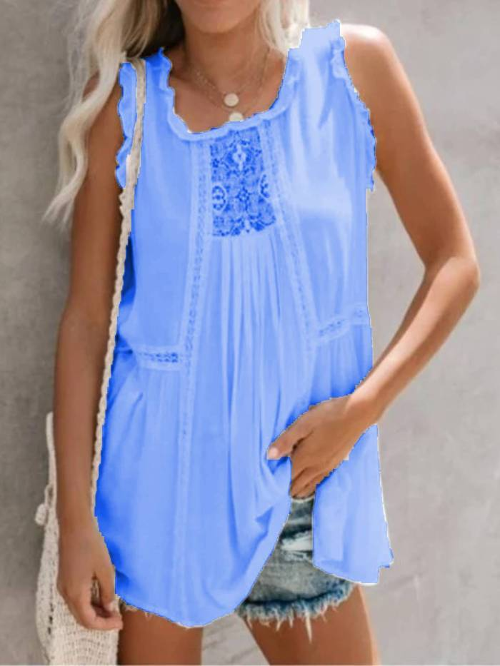 Holiday Sleeveless Square Neck Cotton-Blend Shirts & Tops
