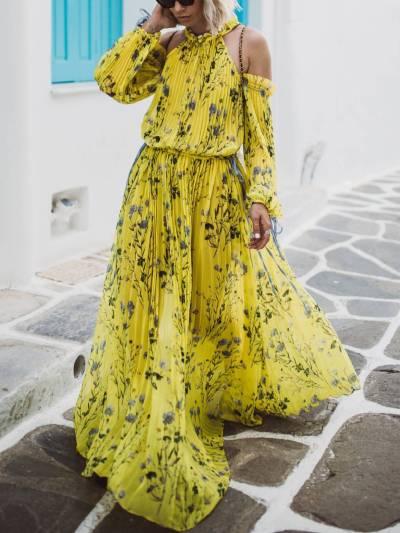 Floral Round Neck Casual Cotton Maxi Dresses