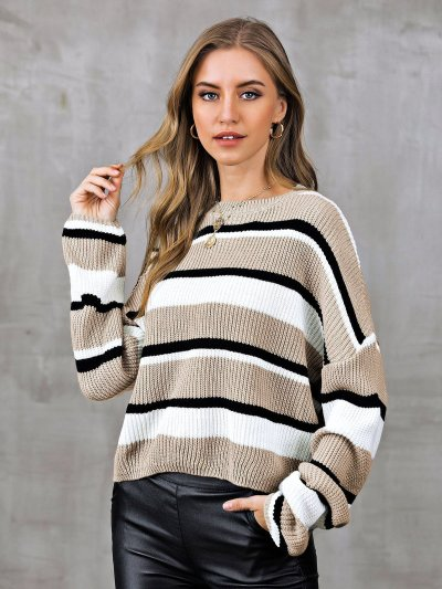 Casual Color-Block Striped Sweaters