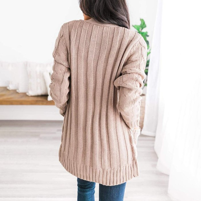 Cardigan 2020 Autumn Winter Sweater Women Crocheted V-neck Long Sleeved Single Breasted Fashion Knitted Cardigan