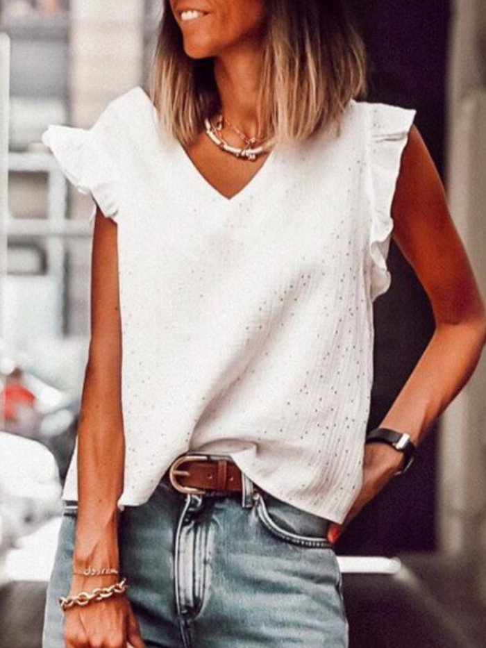 V Neck Solid Cotton Shirts & Tops